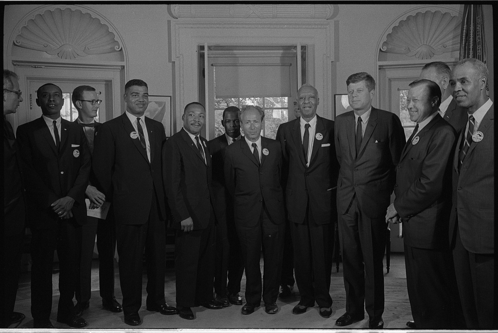 [Civil rights leaders meet with President John F. Kennedy in the oval office of the White House after the March on Washington, D.C.] (LOC)