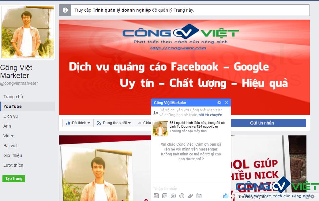 Cách hiển thị khi tạo xong lời chào trên Messenger cho Fanpage