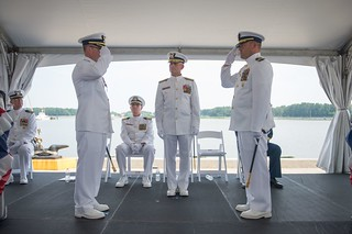 Cmdr. Todd Vance assumed the duties and responsibilities as commanding officer of the Coast Guard Cutter Legare from Cmdr. Kevin King during a change of command ceremony at Base Portsmouth on Thursday June 19, 2014. The Legare is one of six 270-foot medium endurance cutters based in Portsmouth. (U.S. Coast Guard photo by Petty Officer 2nd Class Walter Shinn)