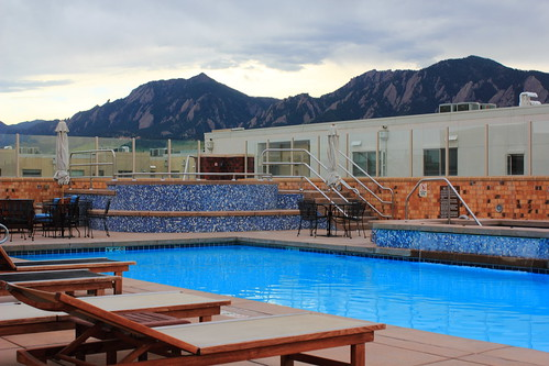 Pool with a view to Flatirons on Summer Solstice