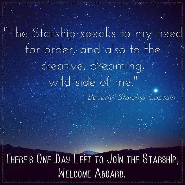 Love this quote from @Beverly_army13.  The Starship closes at 4pm EST today, don't hesitate to ask if you've got questions!