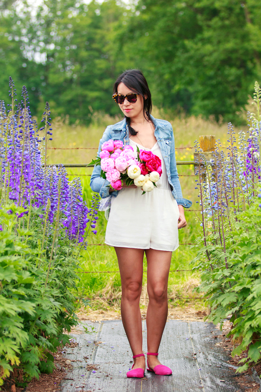 ShoeMint Ciella flats, H&M white romper, H&M denim jacket, peonies, spring, Vancouver, fashion, blogger, Flowers From A Country Garden, Karen Walker Number One sunglasses
