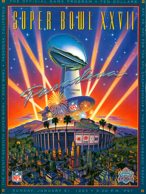 January 31, 1993, Super Bowl 27, Dallas Cowboys vs Buffalo Bills, Rose Bowl, Pasadena, California, Official Game Program