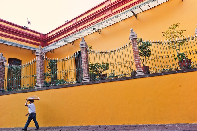 Man carrying a platter on his head near Plaza Del Carmen in Mexico City, D.F.