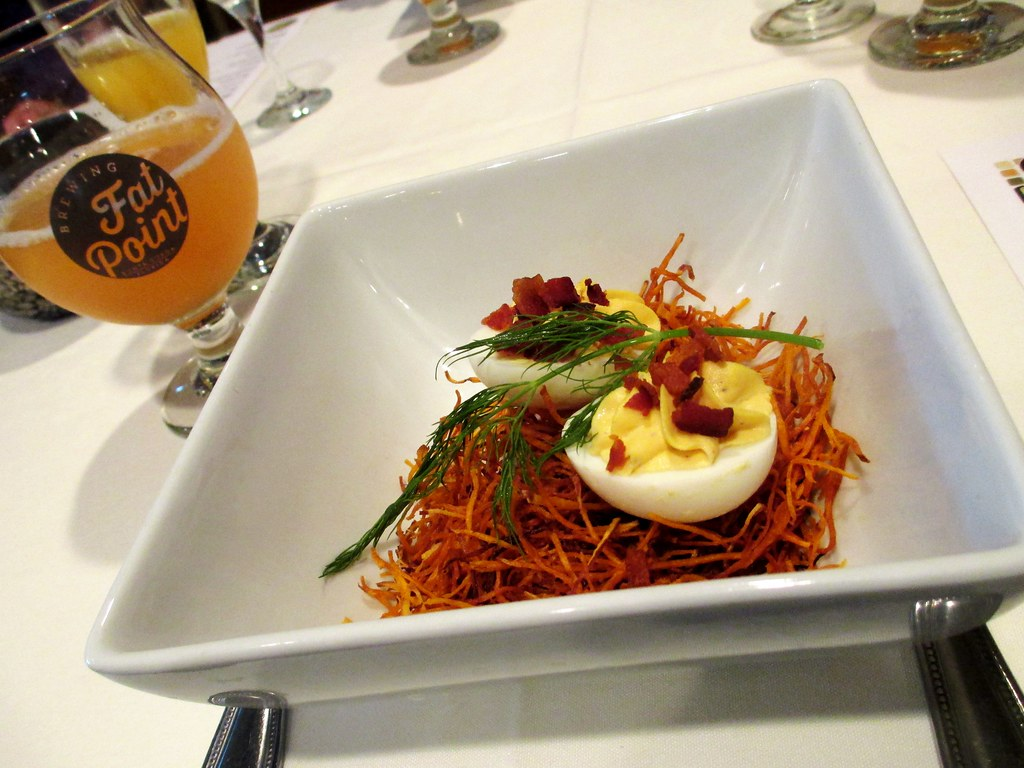Deviled Eggs, Crispy Pepper Bacon, Sweet Potato Nest served with a Lemon Mint Grapefruit Beermosa - Fat Point Brewing Beer Brunch at Opus Restaurant, Punta Gorda, Fla., June 29, 2014