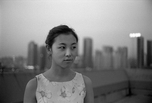 china city sunset summer portrait bw woman white black cute tower film rooftop girl beautiful zeiss 50mm twilight dress kodak bokeh dusk trix xian block suki ikon shaanxi wideopen