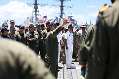 Helicopter pilots from the U.S., Australia, New Zealand, Japan, Republic of Korea, Indonesia, People's Republic of China and Singapore attend a flight deck familiarization tour aboard USS Gary (FFG 51) during RIMPAC. (Photo courtesy of the Royal Australian Navy)
