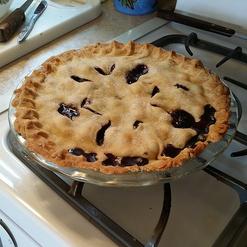 OMG. Sally made this Blueberry pie in like, I swear, 5 minutes, and it smells and looks AWESOME.  And yes, pie :) #pie #handmade  #grandmagoodness #blueberry  #itsfreakingpie #piepron