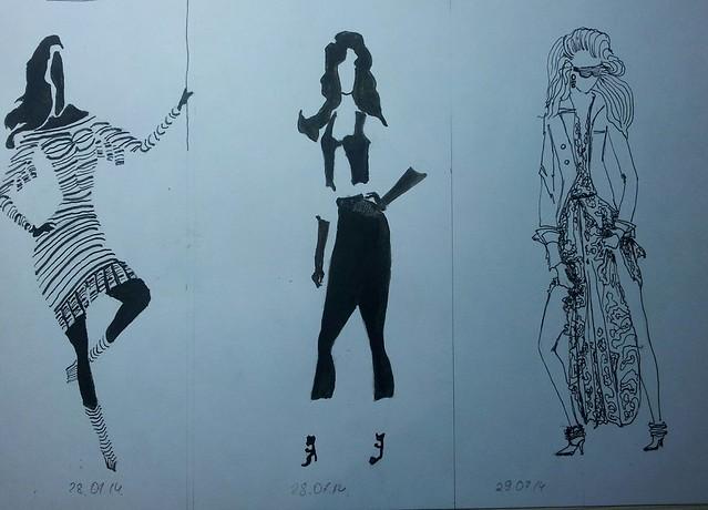 fashion illustration, ink, sketch