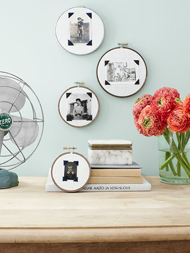 embroidery hoop photo frames via country living