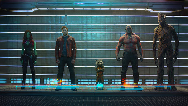 Zoe Saldana, Chris Pratt, Bradley Cooper, Dave Bautista and Vin Diesel are the ragtag GUARDIANS OF THE GALAXY.