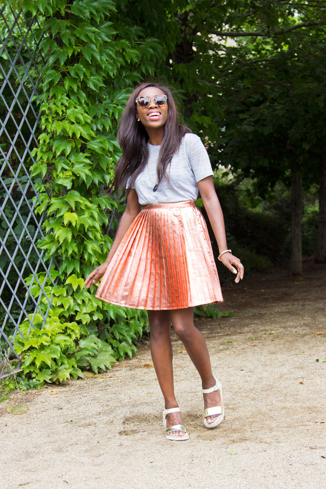 Topshop Lurex Metallic Pleat Skirt