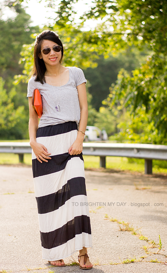 amethyst pendant, gray tee, rugby striped maxi dress, orange clutch