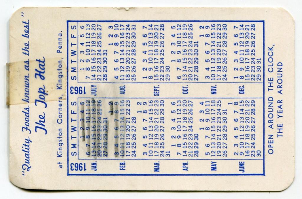 Reverse of Top Hat Diner 1963 Calendar Card… Kingston, PA