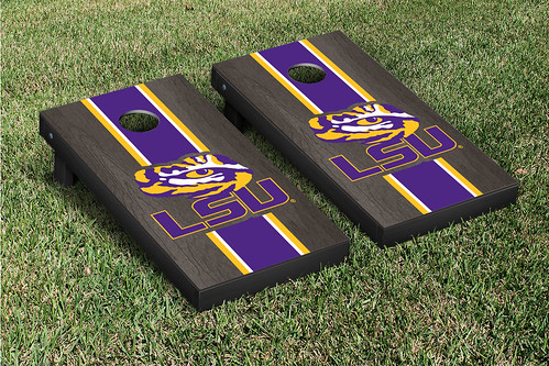 LSU Tigers Cornhole Game Set Onyx Stained