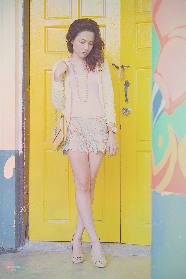 lovechic love chic shai lagarde shailagarde tumblr top fashion blogger philippines street style outfit ootd casual yellow ninoy aquino filipino pastel teenvogue teen vogue shorts cardigan watch heels asian lookbook chictopia summer wavy red hair UP 6