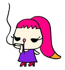 タバコを吸うミカむー