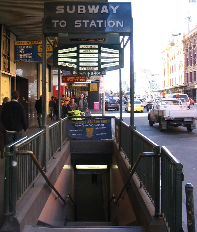 Flinders Street, subway to station, August 2004