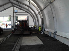 Electric service installation in CBTC tent.