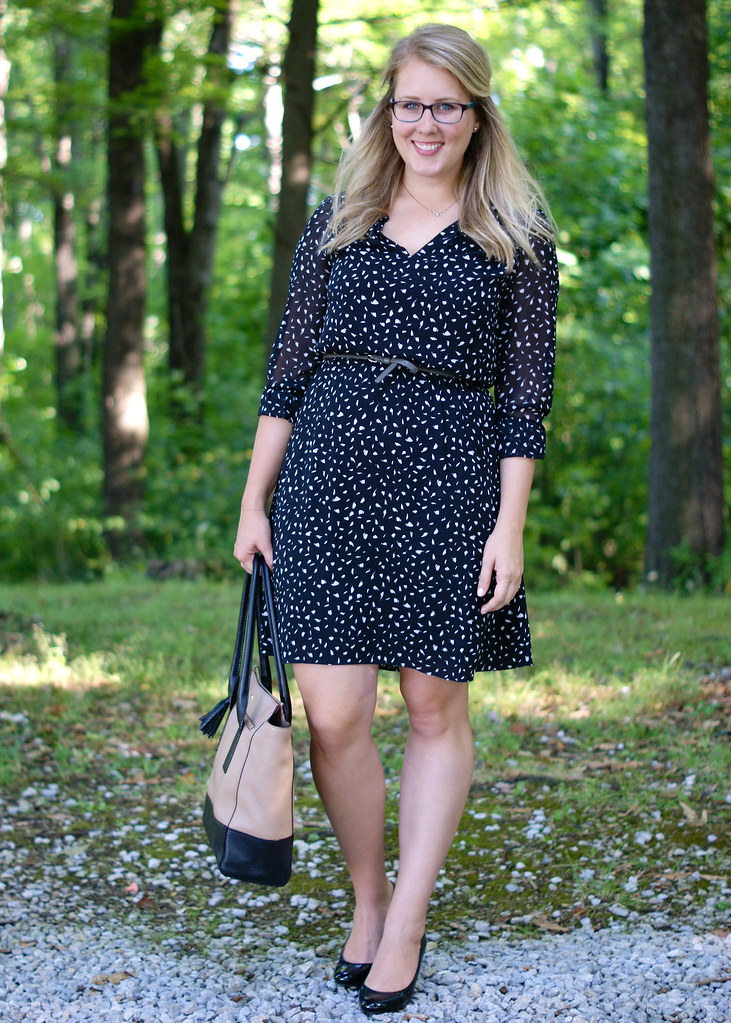 patterned dress with simple accessories