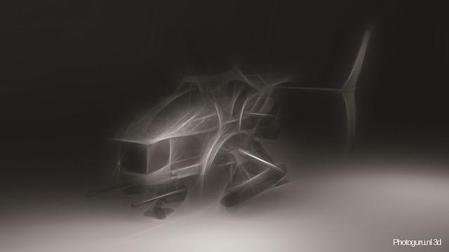 concept art drone zwart wit