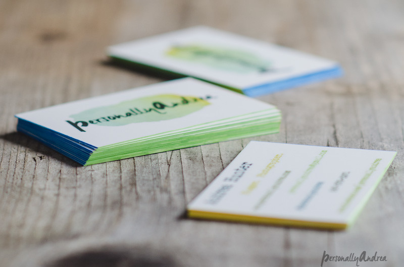 Double-sided business cards from MOO | ombré edged with paint sharpies | personallyandrea.com