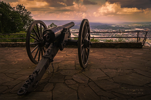 10 PDR. Parrott Battery Lookout MT. overlooking Chattanooga, TN Sunset HDR 6X4