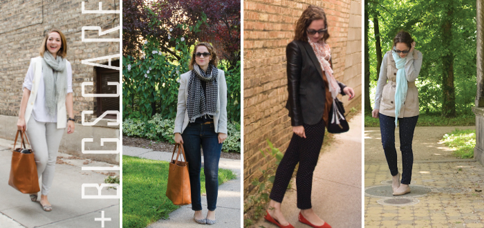 jeans to work: big scarf