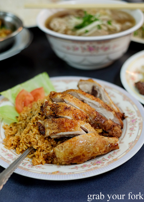 Crispy chicken with tomato rice at Pho Toan Thang, Flemington
