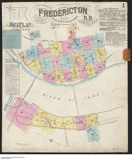 Fire insurance plan, Fredericton, New Brunswick, including Gibson & St. Mary's Ferry / Plan d'assurance-incendie, incluant le traversier Gibson-St. Mary's, Fredericton (Nouveau-Brunswick)