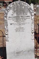 Zacharias and Elizabeth Williams headstone.