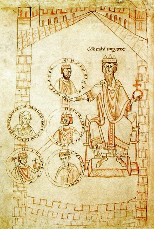 Conrad II holding images of Henry III, Henry IV, Conrad, Henry V and Agnes