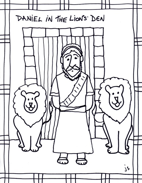 Daniel in Lions Den clip art coloring sheet Stushie Art