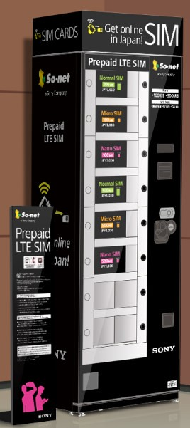 29So Net推出關西國際機場自動販賣機販售『Prepaid LTE SIM』示意圖