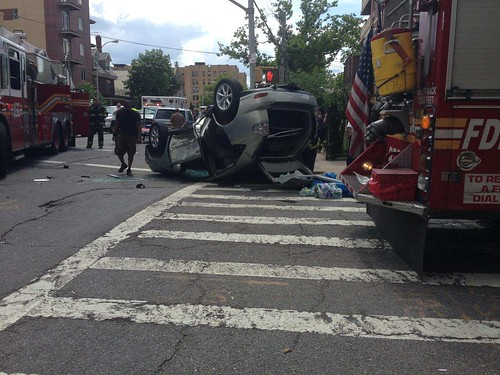 car accident in Brooklyn, NY on ave P and Ocean Ave. 6/26/2014