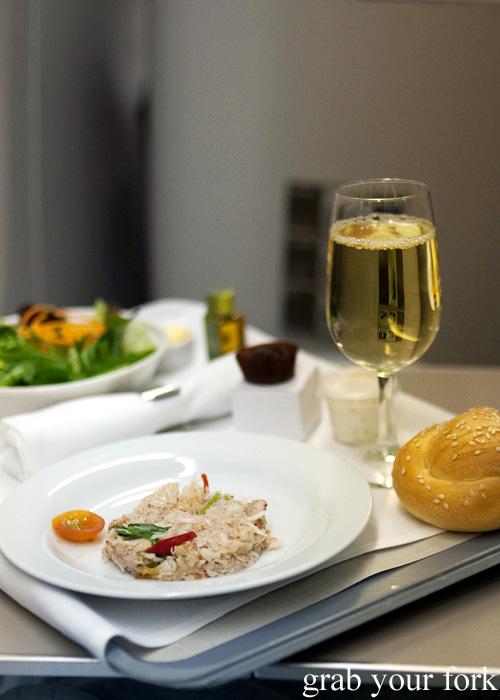 Handpicked crab salad on British Airways business class Singapore to Sydney
