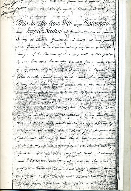 First page of The Last Will and Testament of Joseph Nadin 1763-1848 - The noted Deputy Constable of Manchester.