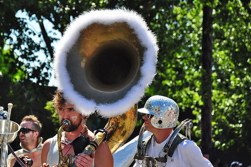 Band in the Solstice Parade in Fremont, Seattle, Washington
