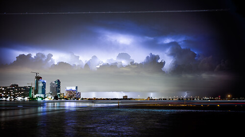 longexposure sky storm water weather composite night clouds canon buildings unitedstates florida miami lightning miamibeach lightningstrike southflorida 6d eos6d