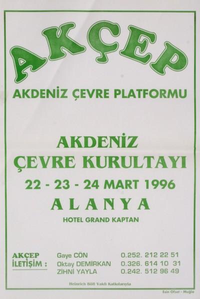 AKÇEP Akdeniz Çevre Platformu Akdeniz çevre Kurultayı 1996