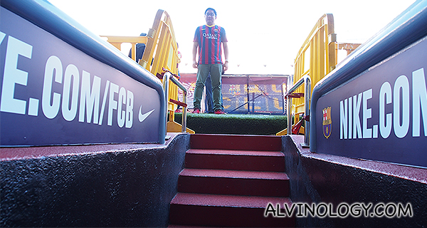 Stairs leading up to the field
