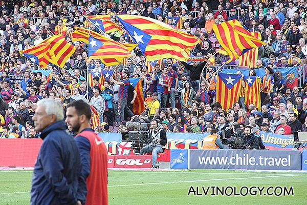 Catalan flags waving