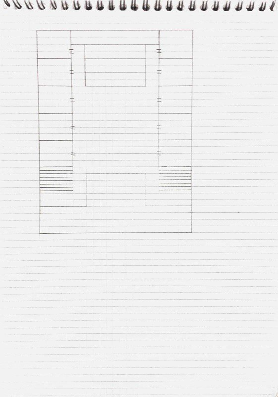Floorplan for a show-space with balcony of multiple small bedrooms, scanned sketch 2