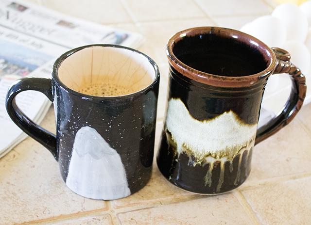 handmade ceramic mugs, mountains scenes