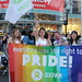 """Everyone has a Right to Pride""- Oxfam supporters march in the World Pride Trans March."