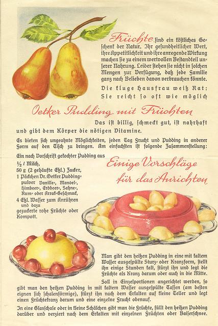 Dr. Oetker Pudding mit Früchten Neue Anregungen für erfrischende und nahrhafte Süßspeisen Pudding Nachtisch Dessert anno dazumal Kinderleibspeise Obst Früchte Rezept Rezepte bunt Scan alte Kochbücher