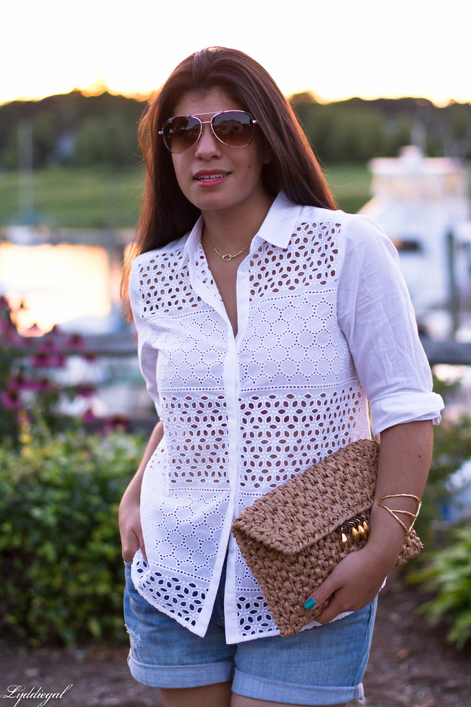 white eyelet buttondown, denim shorts 6