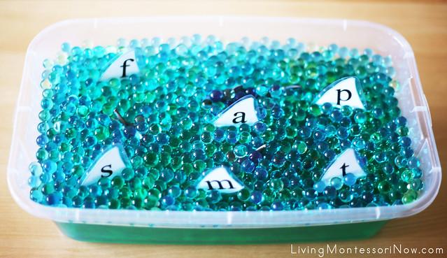 Shark Water-Bead Letter Sensory Bin