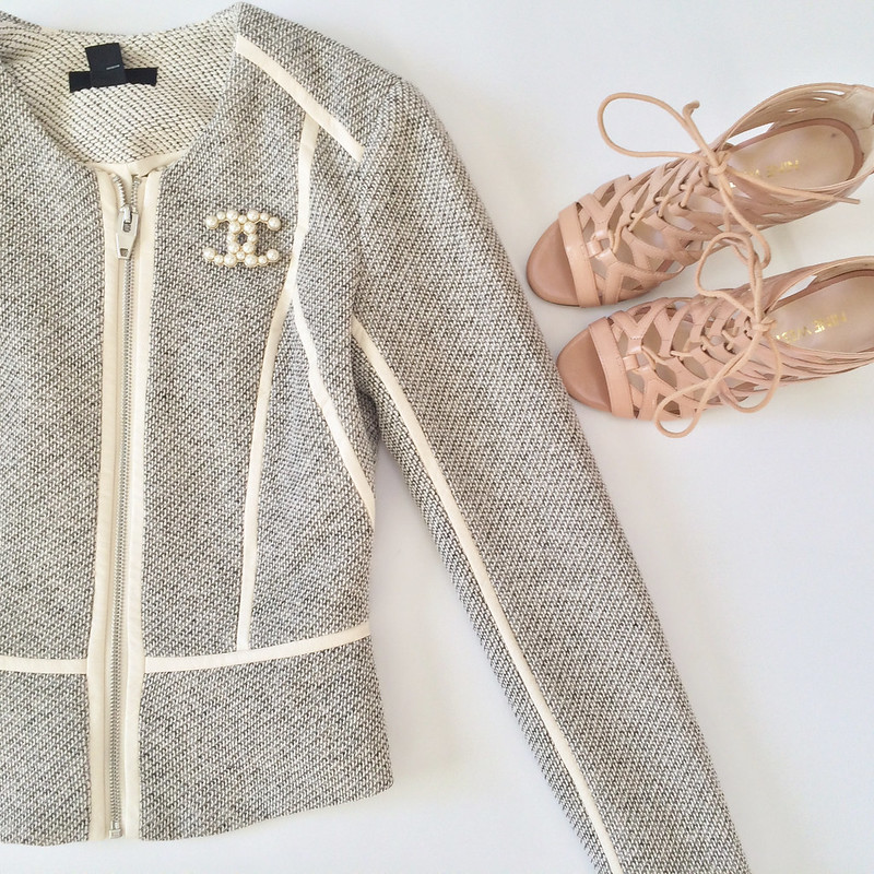 H&M Tweed Blazer and Nine West Sandals