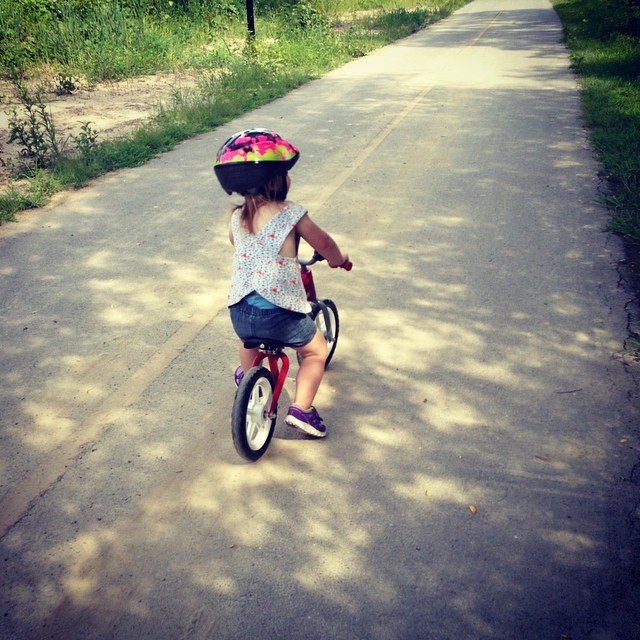 More balance bike fun on the canal path. We went a whole mile!